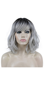 Medium Length Wavy Grey Wigs with Bangs Premium Synthetic Hair with Dark Roots