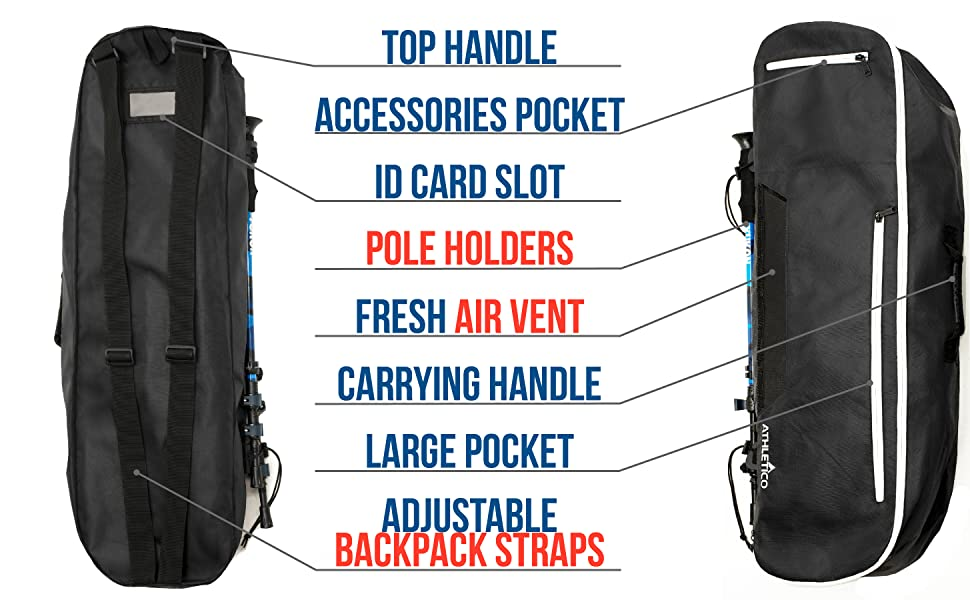 Athletico Snowshoe Bag with premium features, extra pockets, external pole holder