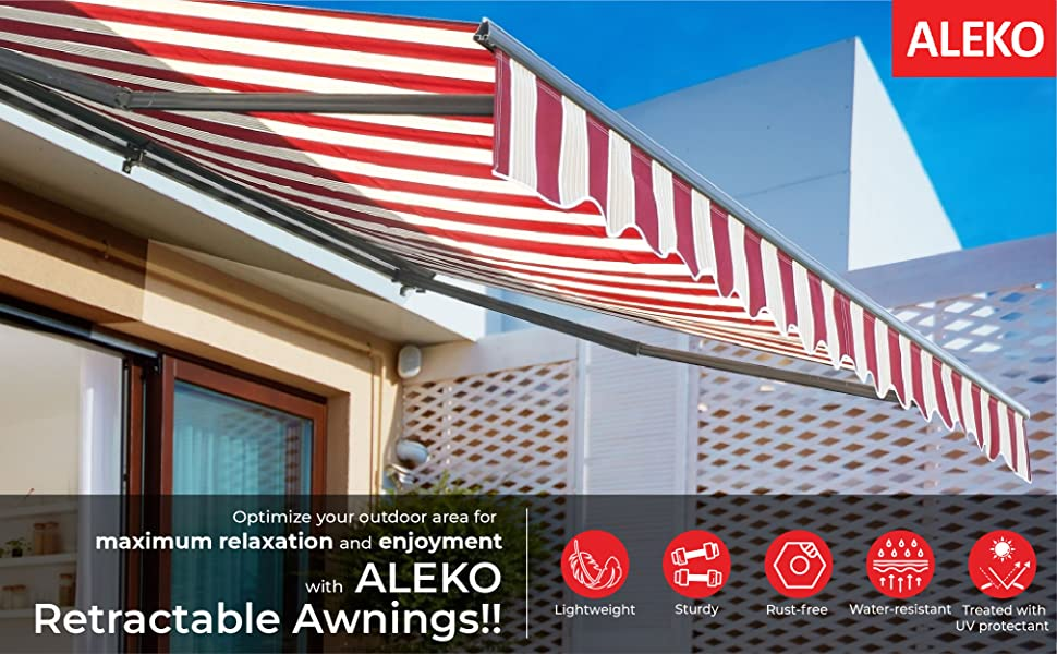 Best Retractable Awnings 2021 Amazon.: ALEKO AW10X8BWSTR03 Retractable Patio Awning 10 x 8