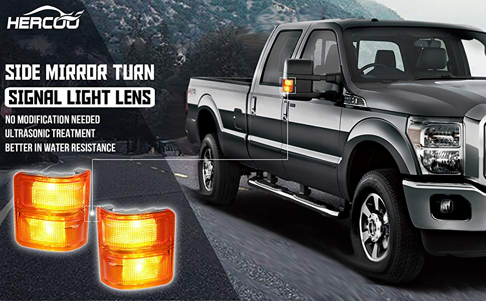 HERCOO Amber Side Mirror Marker Lights Lens w//LED Compatible with 2008-2016 Ford F250 F350 F450 Super Duty Turn Signal Aftermarket Replacement Qty 2 Amber /& White