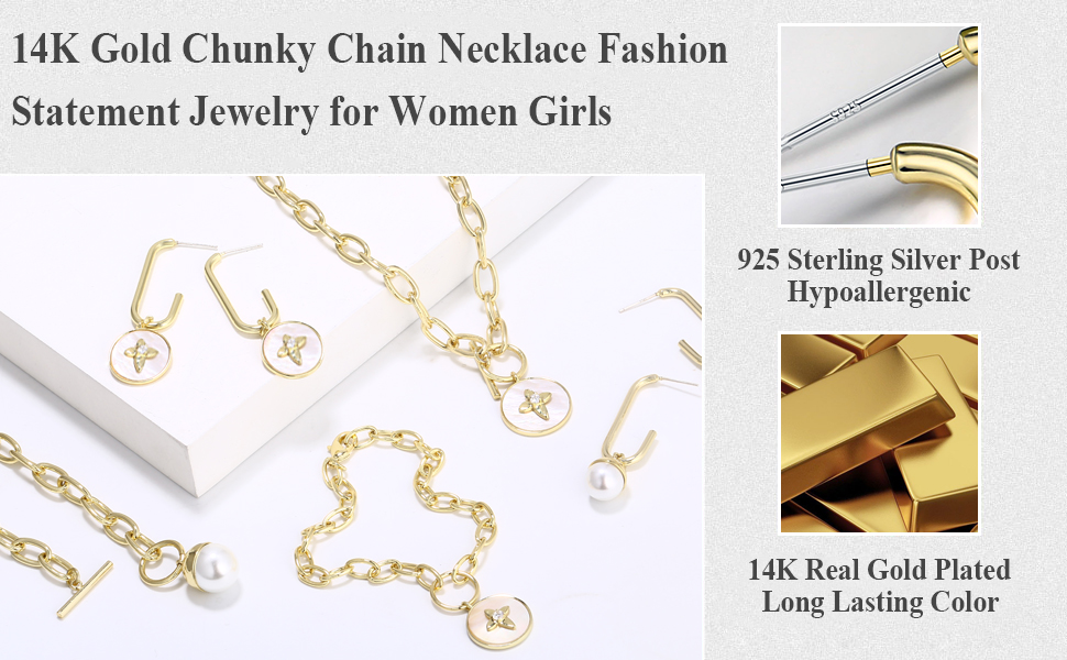Fashion Necklace for Women BOUTIQUELOVIN 14K Gold Plated Statement Chunky Chain Choker Necklace for Women Girls