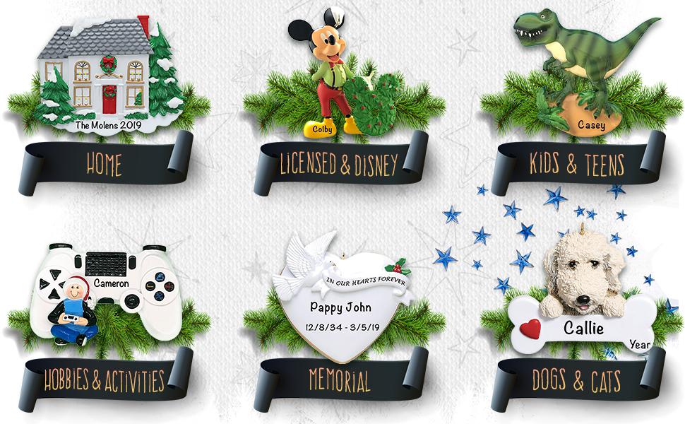 Holiday Traditions Personalized Christmas Ornaments Keepsake Hanging Christmas Tree