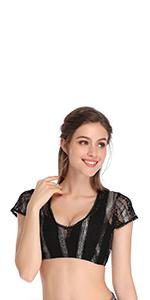 Kurzarm//Halbarm Bluse f/ür Oktoberfest 100/% Baumwolle(Verpackung MEHRWEG) KOJOOIN Trachten Damen Dirndlbluse