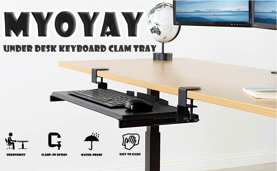 25 X 9.5Adjustable Computer Drawer with Large Clamp for Typing and Mouse Work Sliding Under Desk Keyboard Drawer MYOYAY Keyboard Tray