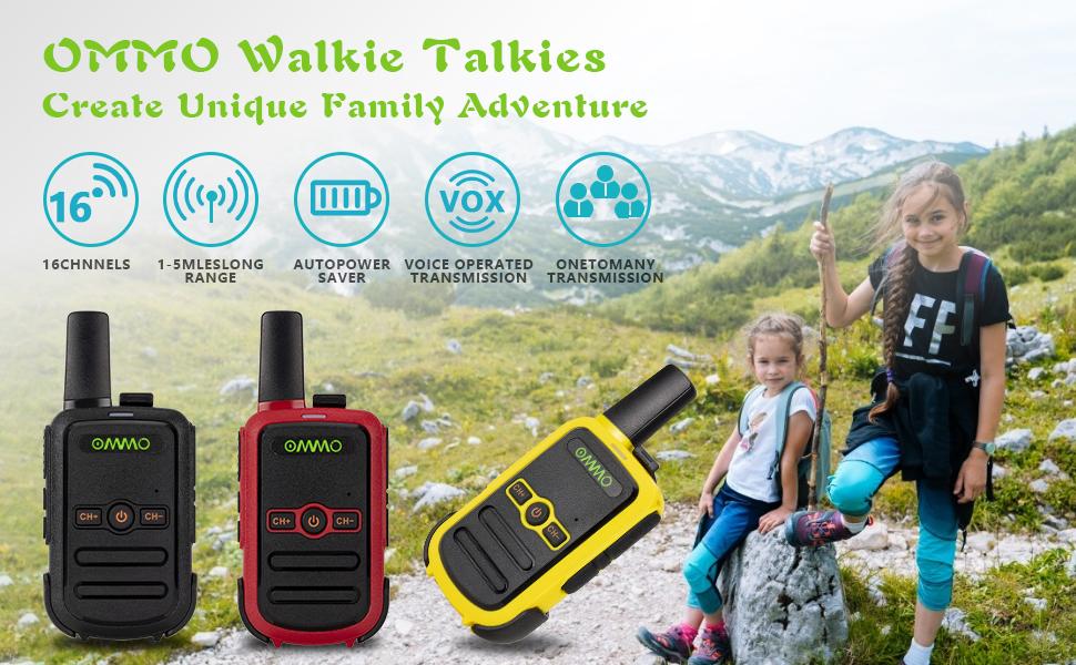 3er-Pack Wieder aufladbare Walkie Talkies f/ür Kinder und Erwachsene OMMO Walkie Talkies Zweiwege-Funkger/äte f/ür Familienausfl/üge Wandern und Camping Handger/äte Walky Talky hohe Reichweite
