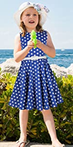 Blue polka dot girls dress