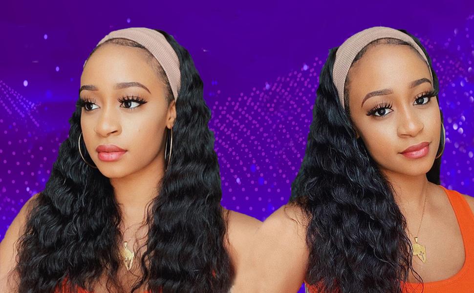 headband wig deep wave
