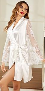 white satin robe