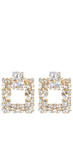 Clear Rhinestone Rectangle Geometric Drop Earrings KELMALL COLLECTION