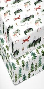 crib sheet, crib sheets, woodland, trees, mountains, mattress, silky, soft, safe