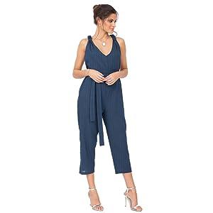 womens harem dungaree crop loose fit jumpsuit romper denim blue black tall boho summer racer hippie