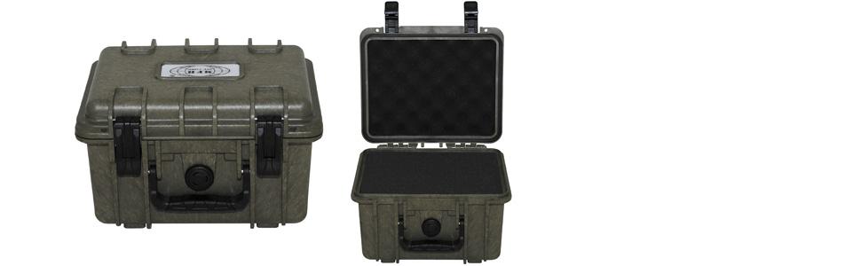 Stabile Kunststoff Box Wasserdicht Oliv Kiste Schaumstoffeinsatz Outdoor Kamera