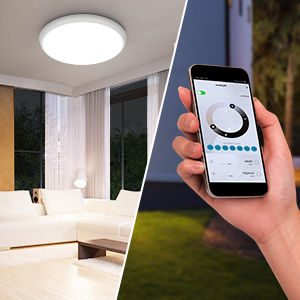 "1  YUNLIGHTS Smart Ceiling Light – Smart Ceiling Light Flush Mount Compatible with Alexa & Google Home, Smart Ceiling Light Flush Mount Wifi with App Control RGB Dimming IP65 Waterproof Timer, 24W & 12"" 9caac8d5 7631 4482 b4ea fff7d74dd89a"
