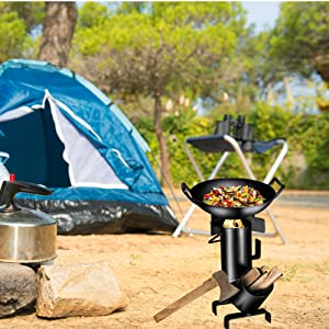 Lixada Camping Stove Wood Burning BBQ Grill Stoves Potable Folding Stainless Steel Backpacking Stove