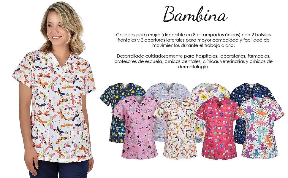 B-well Bambina Casacas Sanitarias Mujer Manga Corta Cuello V para Enfermeras, Dentistas, Médicos, Estudiantes y Veterinarios