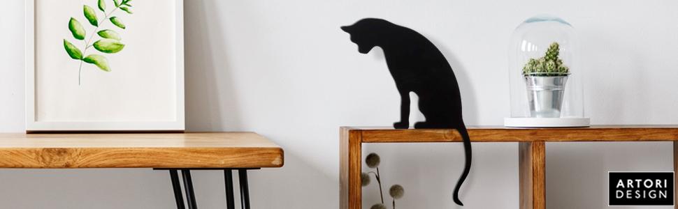 Cat Statue for Shelf Decor