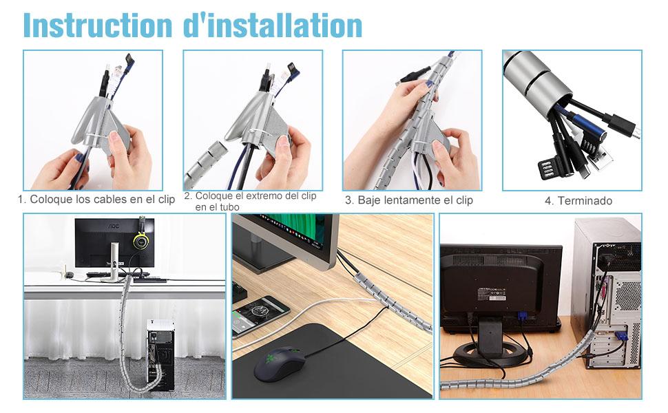 VoJoPi Organizador Cables, 2 X 1.5m Organizador de Cablesde Material PET,Automático Cubre Cables Para TV,computadora,(∅ 22 und ∅16 mm),Gris