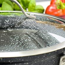 Couvercle en verre trempé robuste mijoter température antiadhésif cuisson  pierre granit