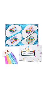 Rainbow Bath Bombs Organic Bath Bomb Gift Set Idea for Kids Women