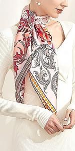 Quadrato in seta di qualità con motivo floreale, collo, borsa per capelli primaverile, hostesa, decorazione colore turchese