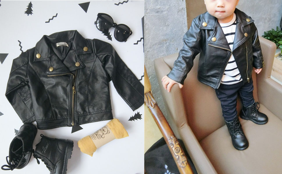 Kids Boys Girls Oblique Zipper Leather Outerwear Coat Toddler Boys Girls Spring Fall Coat Clothes