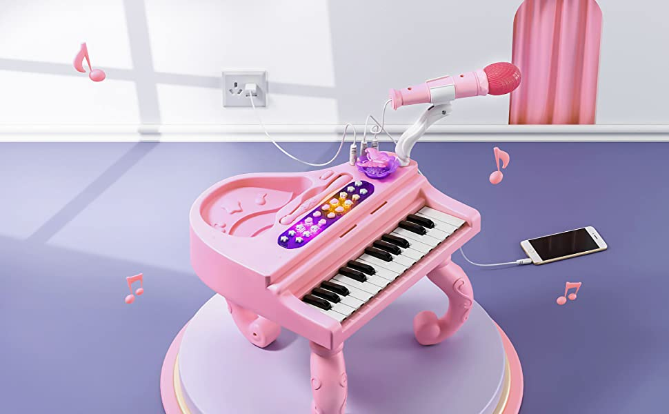 Toyzabo Baby Toy Piano Toddler Piano Music Toy Baby Piano Rattle Musical Tummy Time Toys Baby Learning Toys Little Piano Toy Keyboard Baby Rattle Kids Musical Instruments Baby Music Toy