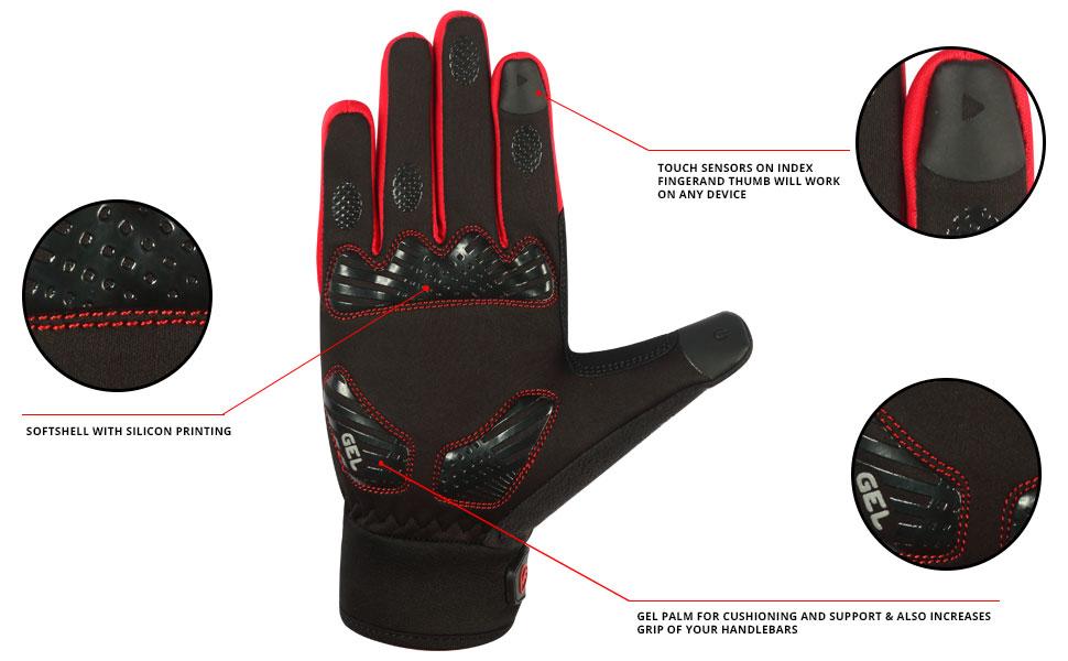 coupe-vent et compatibles /écran tactile FDX Gants de cyclisme pour temps froid