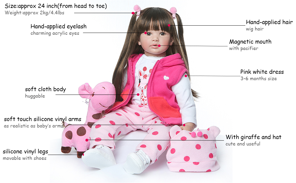 "24/"" Golden Hair Reborn Baby Dolls Lifelike Toddler Girl Soft Body Silicone Vinyl"