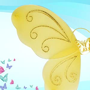 Enjoy Butterfly Wings for Baby Girls with Matching Hair Band and Magic Wand and 15 Pieces Balloons