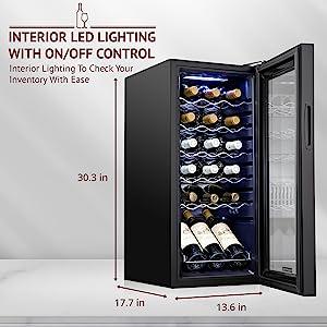 Schmecke wine cooler Soft interior lighting