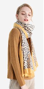 Femmes Hiver Echarpe XXL Foulard Viscose Cachemire Tricot foulard écharpe LEOPARD 2002