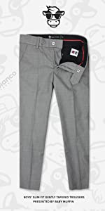 Boys Gray Slim Fit Dress Pants