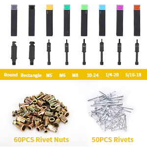 60PCS /Écrous /à Rivets Ginour 3 en 1 5 Buses Rempla/çables avec 50PCS Rivets Outil d Al/ésoir M5 // M6 // M8 // 10-24、1//4-20、5//16-18 Pistolet /à riveter et Pince Rivet Pince /à Rivets