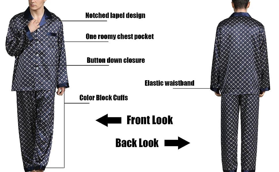 Men's Silk Long Pajamas Set for Men 2pc Sleepwear