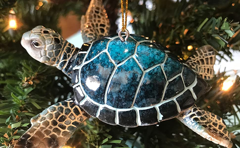 blue sea turtle ornaments christmas decor décor ocean life animals turtles