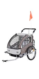 HOMCOM Remolque Infantil para Bicicleta 2 PLAZAS
