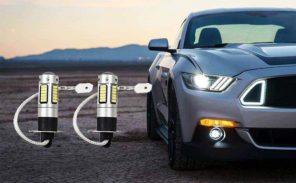 2x H3 30-SMD 4014 LED Bulbs XENON 6000K White 12V Car Fog Light Lamp
