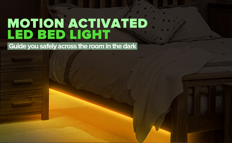 4FT 3000K Warm White Dimmable Night Light for Indoor 12V UL Listed Automatic Shut-Off /& Motion Activated Smart LED Strip Lighting for Under The Single Bed Under Bed Motion Light with Sensors