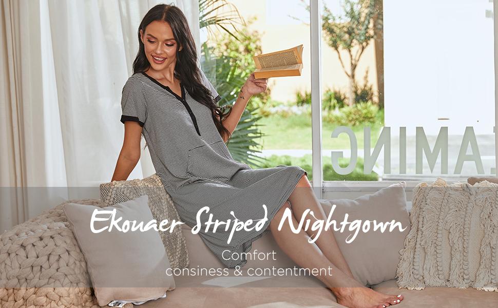 Ekouaer Sleepwear Women's Nightgown Cotton Striped Short Sleeve Long Nightshirt with Pocket S-XXL