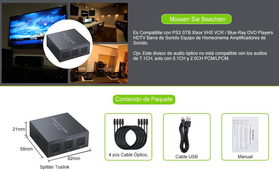 Divisor de Audio 1 x 3 Salidas Splitter Optico con 4 Cables Opticos Selector de Audio Optico Toslink SPDIF Soportar LPCM 2.0 / DTS / Dolby-AC3 para PS3 STB Xbox VHS VCR