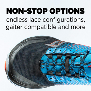 saucony non-stop options with endless lace configurations, gaiter compatibility and more