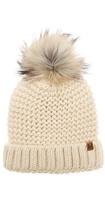 MIRMARU Women's Double Purl Knitted Beanie Hat- Soft Warm Cable Knitted Winter Hat Faux Fur Pom