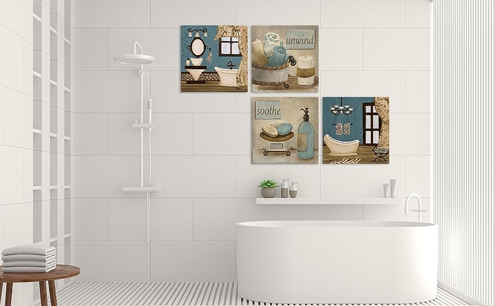 Amazon Com Viivei Vintage Retro Teal Bathroom Canvas Poster Wall Art Decor Artwork Blue Bathroom Wall Art 4 Pieces Canvas Blue Teal Wall Decor Pictures For Bathroom Living Room Framed Ready To Hang
