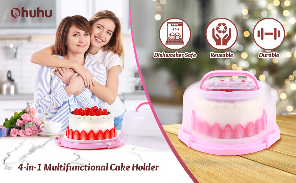 Tiamu Round Cake Carrier Palmare di Plastica Pasticceria Storage Holder Dessert Caso di Copertura del Contenitore Compleanno Forniture per Feste di Nozze Verde
