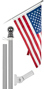 6 Ft Flagpole + 3x5 Ft Brass Grommets Flag (Silver)