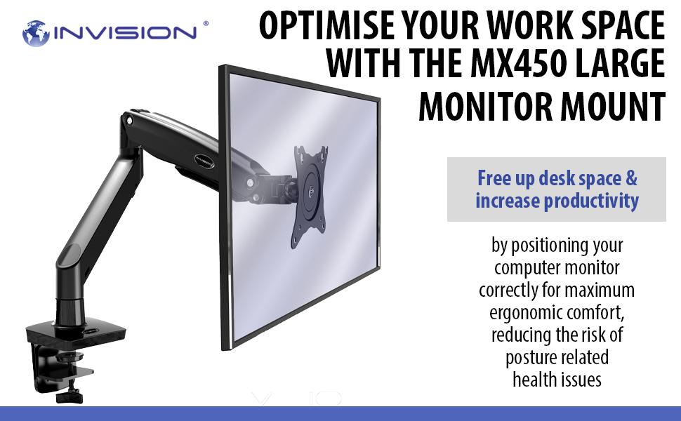 Invision MX450 Ergonomic Monitor Arm Mount 22 to 35 inch screens