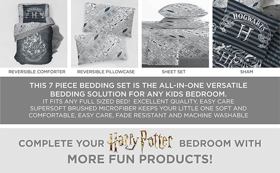 4 Piece Set Super Soft and Cozy Kid/'s Bedding Features Hogwarts Houses Jay Franco Harry Potter House Pride Full Sheet Set Fade Resistant Microfiber Sheets Official Harry Potter Product