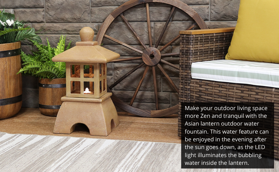 Make your outdoor living space more Zen and tranquil with the Asian lantern outdoor water fountain.