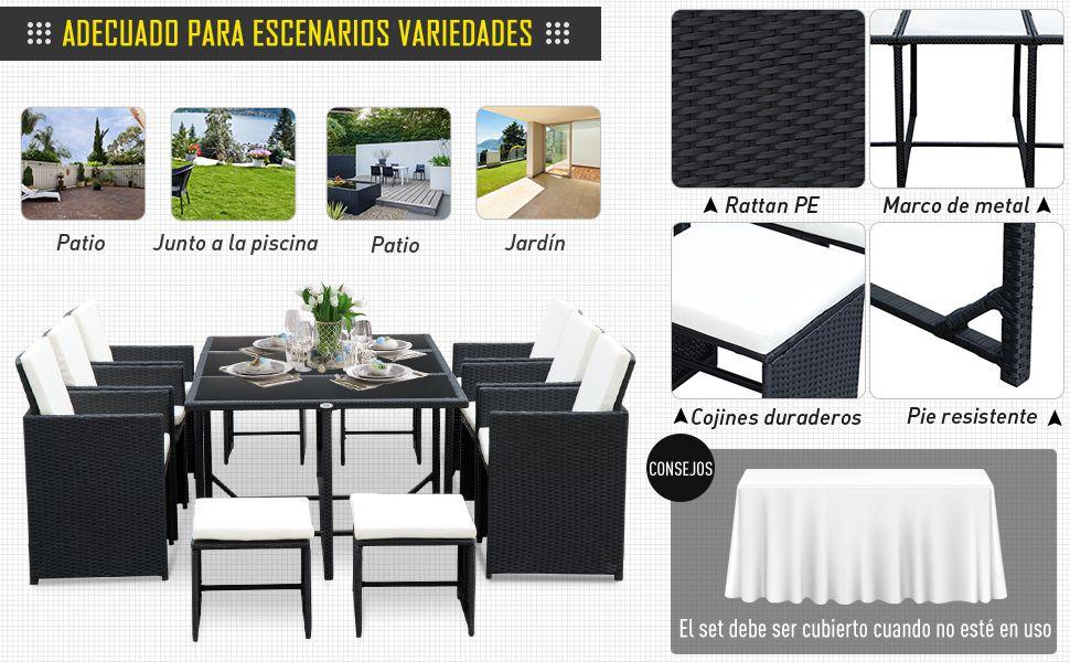 Outsunny Conjunto Muebles de Ratan 11 Piezas Jardin Rattan Mesa Comedor Cojines Terraza