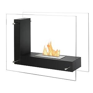 Portable Ventless Fireplace - Vitrum L in Black